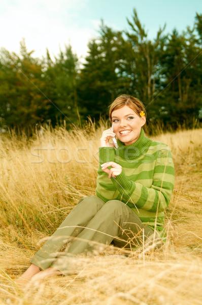 Kadın dağlar açık havada genç iş kadını cep telefonu Stok fotoğraf © dash
