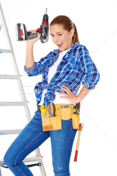 Confident happy DIY handy woman Stock photo © dash