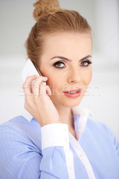 Close up Blond Woman Calling Using Phone Stock photo © dash