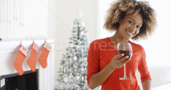 Young woman offering a Christmas toast Stock photo © dash
