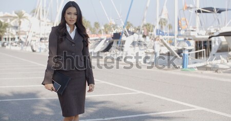 Woman Walking Along The Quay With Yachts Stock photo © dash