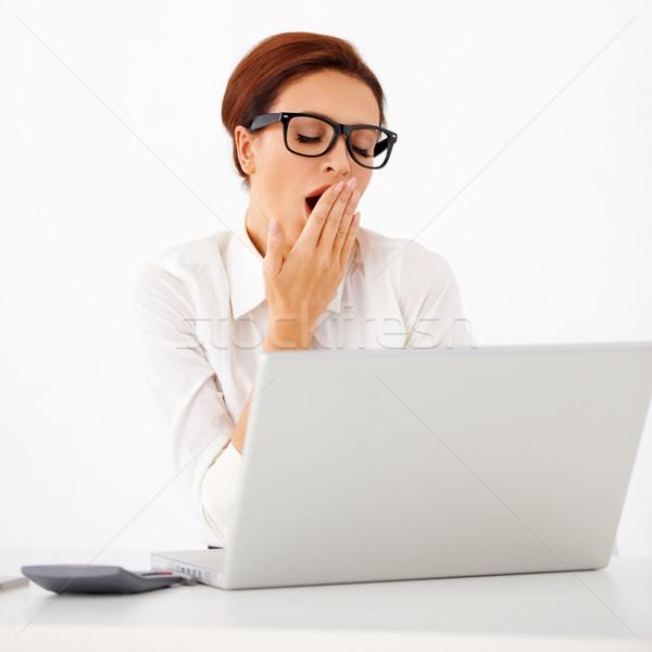 Fáradt üzletasszony ásít vonzó fiatal visel Stock fotó © dash