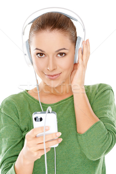Young woman listening to her music Stock photo © dash
