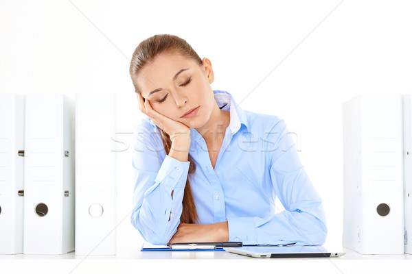Bored or tired businesswoman taking a nap Stock photo © dash