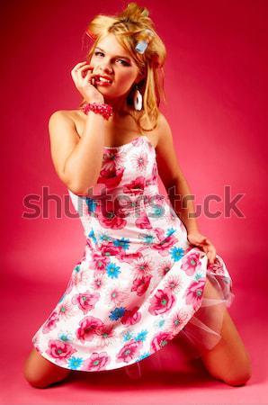 Portre güzel genç seksi kadın kırmızı Stok fotoğraf © dash