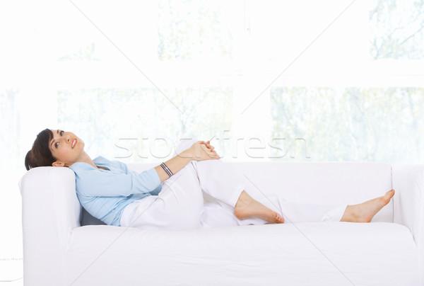 Stock foto: Täglich · Leben · entspannenden · Couch · home