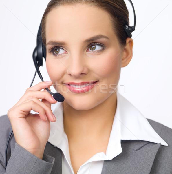 Sevimli iş kadını portre güzel genç kulaklık Stok fotoğraf © dash