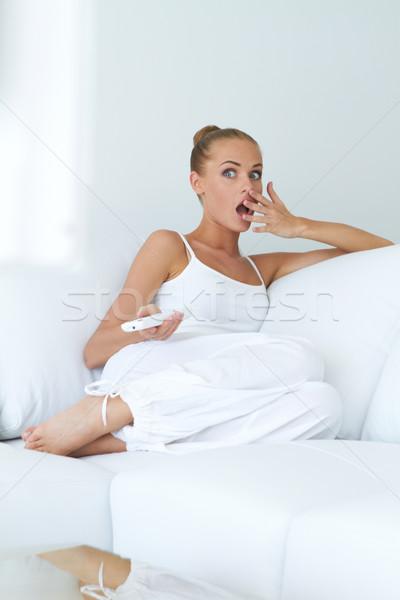 ударных смотрят телевизор диван женщины Сток-фото © dash