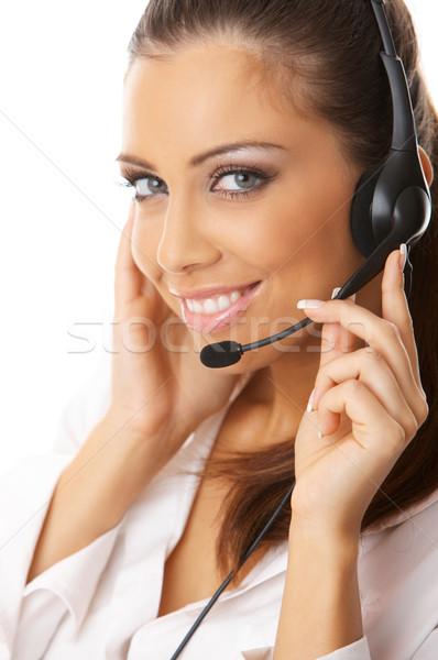 секретарь онлайн портрет красивой изолированный белый Сток-фото © dash
