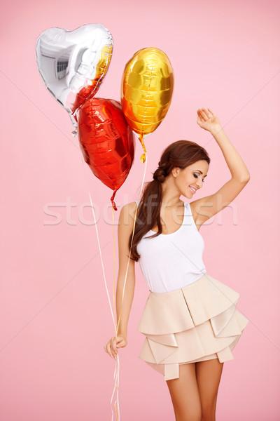 Dancing bruna palloncini cute colorato cuore Foto d'archivio © dash