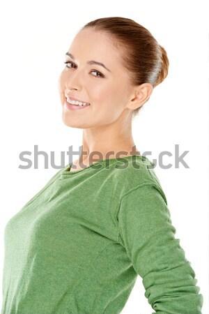 Ernstig jonge vrouw permanente gevouwen armen staren Stockfoto © dash
