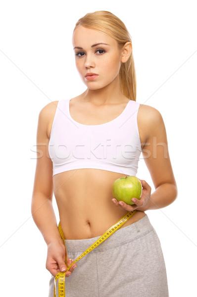 Deportivo nina hermosa niña cintura blanco Foto stock © dash