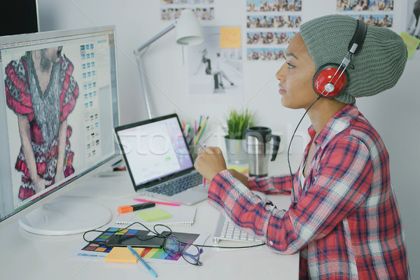 Trendy designer working with computer Stock photo © dash