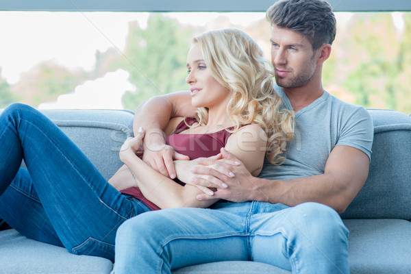 Young couple enjoying a quiet moment at home Stock photo © dash
