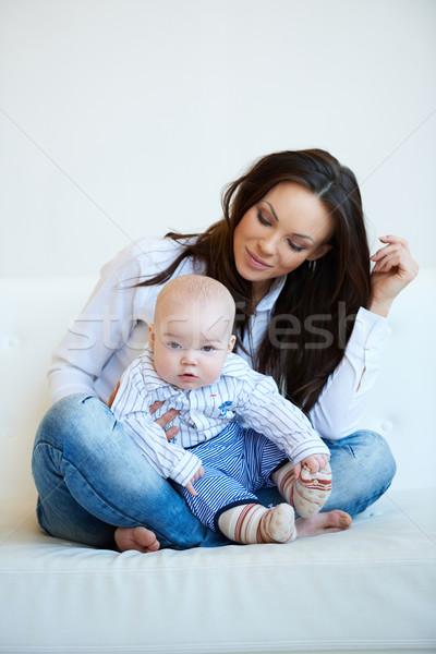 ül csinos anya aranyos baba fiú Stock fotó © dash
