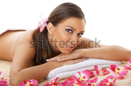 Foto stock: Diariamente · estância · termal · retrato · bela · mulher · tratamento · de · spa · mulher