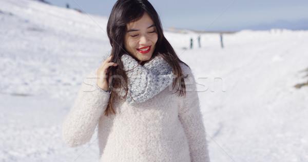 Souriant asian fille laine chandail détente Photo stock © dash