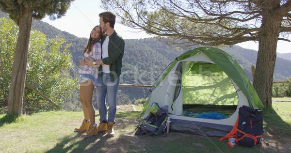 Szerető pár csók sátor fiatal áll Stock fotó © dash