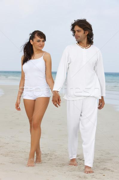 Romântico casal tempo praia menina Foto stock © dash