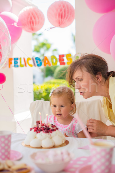 Doce little girl festa de aniversário bonitinho menina Foto stock © dash