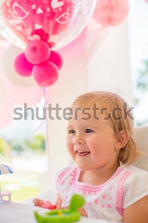 Happy Little Girl Holding Paper Pink Cup Stock photo © dash