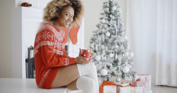 Fashionable woman in a festive Christmas outfit Stock photo © dash