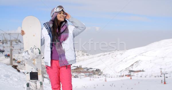 Young woman surveying the snow mountain slopes Stock photo © dash