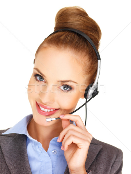 Beautiful woman receptionist with a headset Stock photo © dash
