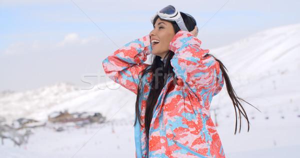 Mutlu kayakçı geri saç güzel Stok fotoğraf © dash