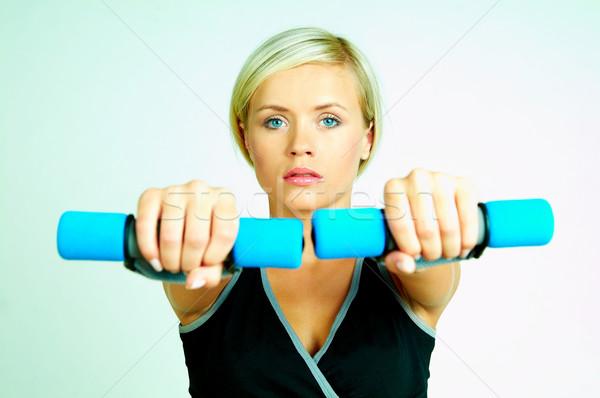 Fitnessz fiatal gyönyörű nő idő testmozgás lány Stock fotó © dash