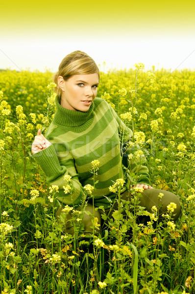 Zakenvrouw outdoor jonge ontspannen groene weide Stockfoto © dash
