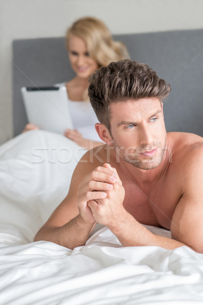 Handsome man with a displeased expression Stock photo © dash