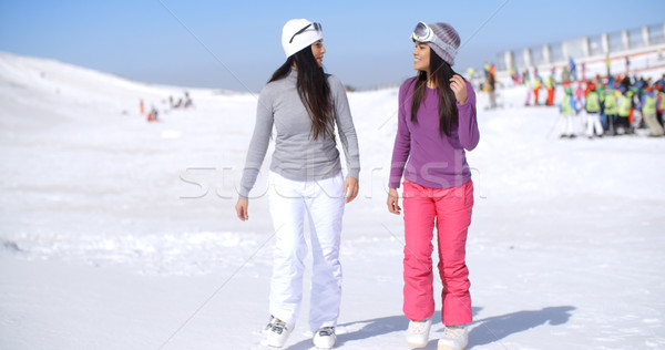 Two attractive young woman walking in fresh snow Stock photo © dash