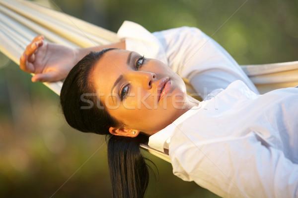 Nő függőágy évek nő portré egzotikus lány Stock fotó © dash