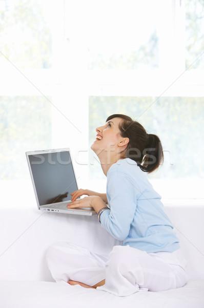 Stock foto: Täglich · Leben · Couch · arbeiten · Laptop