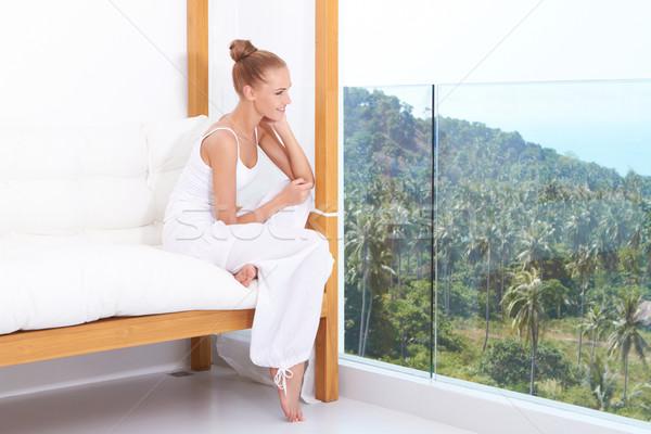 Woman enjoying tropical luxury Stock photo © dash
