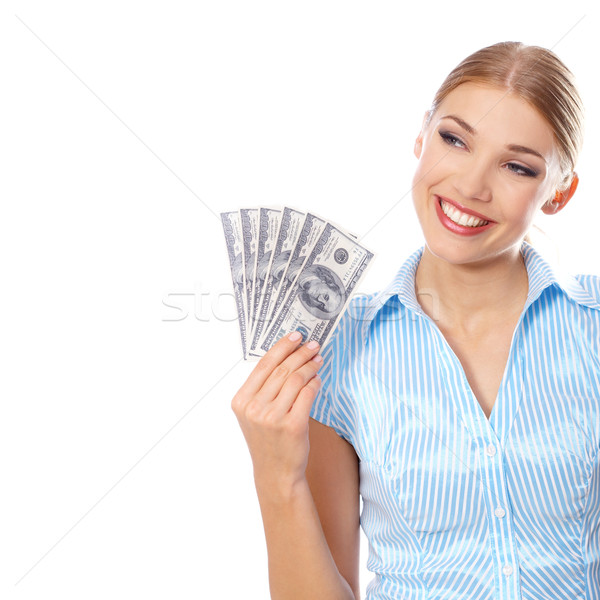 Young woman holding six hundred-dollar bills Stock photo © dash