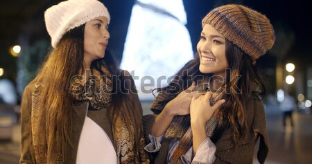 Two young women enjoying a night on the town Stock photo © dash