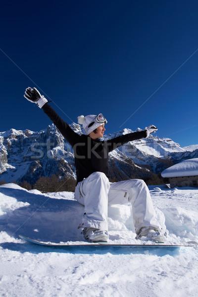 Femminile snowboarder ragazza felice di snowboard montagna donna Foto d'archivio © dash