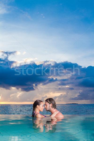 Romantik yüzmek ayakta göğüs Stok fotoğraf © dash