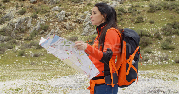 Young woman hiking using a map Stock photo © dash