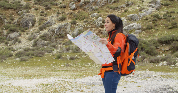 Young woman out hiking checking a map Stock photo © dash