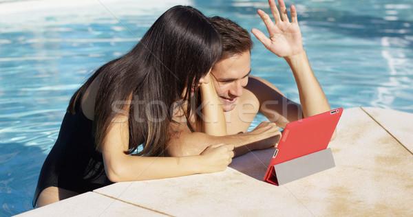 ハンサム カップル ポータブル デジタル 笑顔 ストックフォト © dash