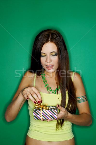 Kadın renkler portre genç kadın yalıtılmış renk Stok fotoğraf © dash