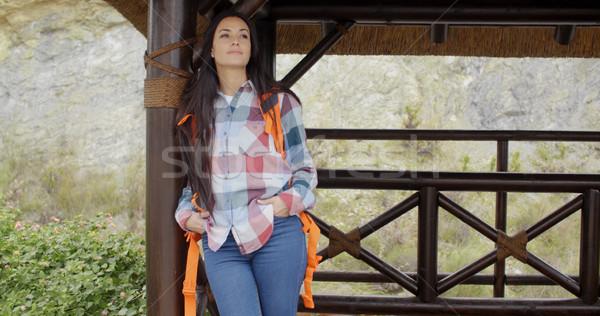 Сток-фото: молодые · женщины · турист · расслабляющая · горные · откинувшись