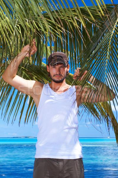 Stockfoto: Man · palm · knappe · man · palmboom · boom · schoonheid