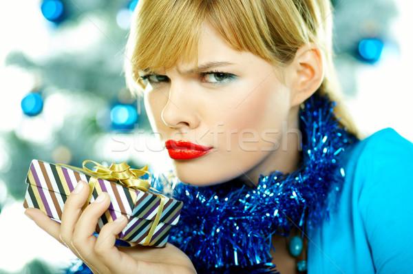 Mooie Blauw christmas jonge vrouw kerstboom witte Stockfoto © dash