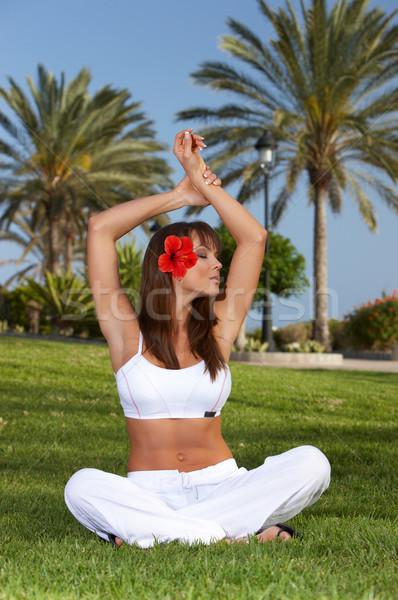 Ontspannen jaren yoga exotisch meisje Stockfoto © dash