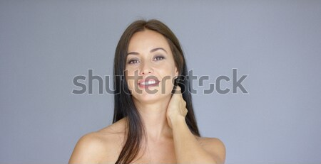 Cute single bare shouldered young adult woman Stock photo © dash