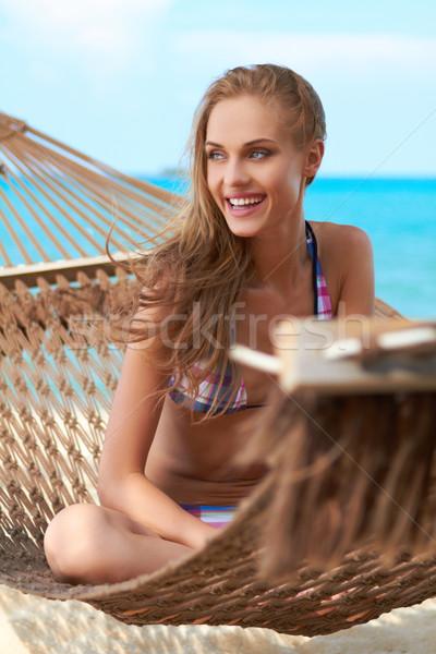 Beautiful woman in hammock Stock photo © dash